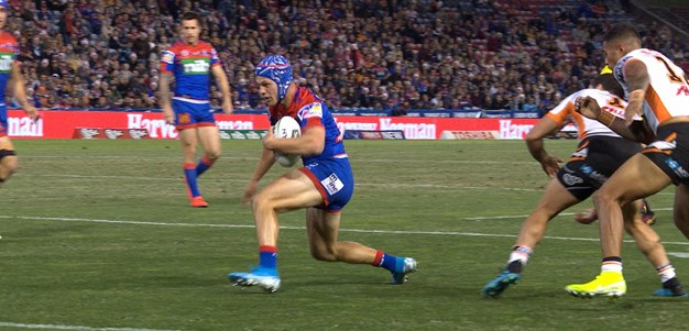Watch: Ponga steps three for sizzling try