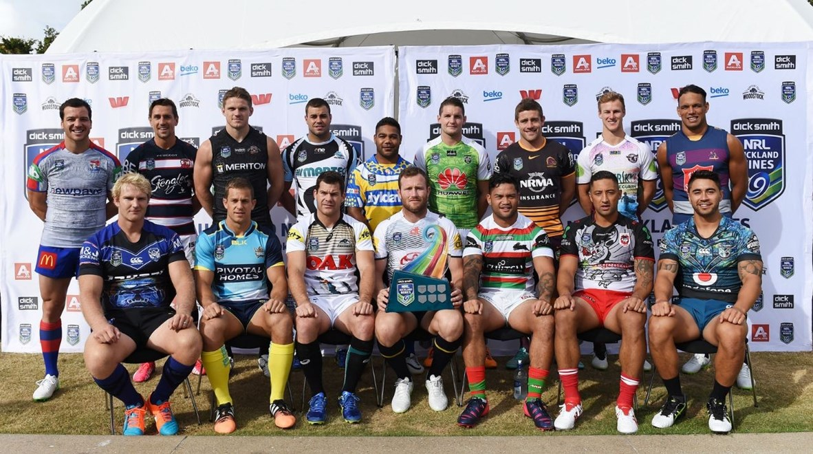 Captains pose for a team photo. NRL Auckland Nines Festival and Fan Zone, Aotea Square, Auckland, New Zealand. Zealand. Friday 30 January 2015. Copyright Photo: Andrew Cornaga/www.Photosport.co.nz
