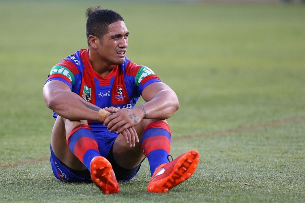 Sione Mata'utia Competition - NRL Premiership Round - Round 03 Teams - Newcastle Knights V Canberra Raiders - 19th of March 2016 Venue - Hunter Stadium, Broadmeadow, Newcastle NSW Photographer - Paul Barkley