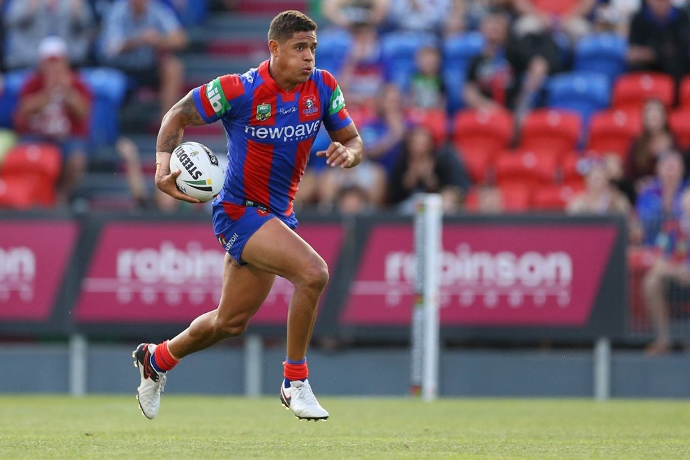 Dane Gagai Competition - NRL Premiership Round - Round 03 Teams - Newcastle Knights V Canberra Raiders - 19th of March 2016 Venue - Hunter Stadium, Broadmeadow, Newcastle NSW Photographer - Paul Barkley