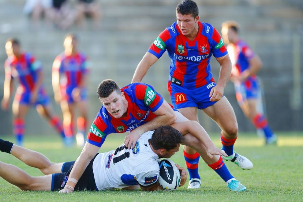 Lachlan Fitzgibbon and Jack Cogger work hard in defence against Wentworthville.