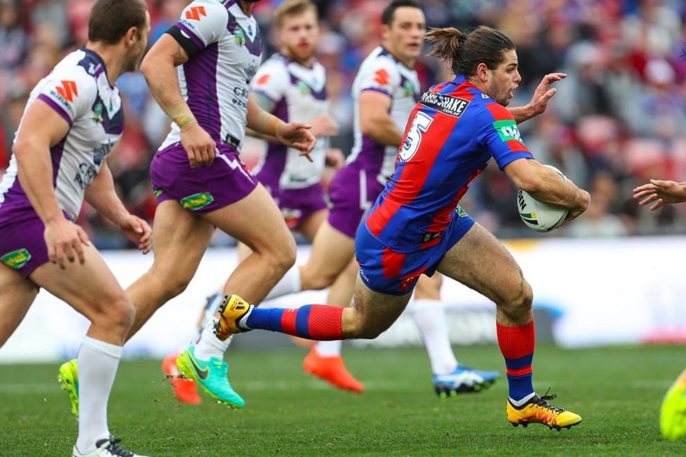 Competition - NRL Premiership Round. Round - Round 19. Teams - Newcastle Knights v Melbourne Storm. Date - 17th of July 2016. Venue - Hunter Stadium, Broadmeadow NSW. Photographer - Paul Barkley.
