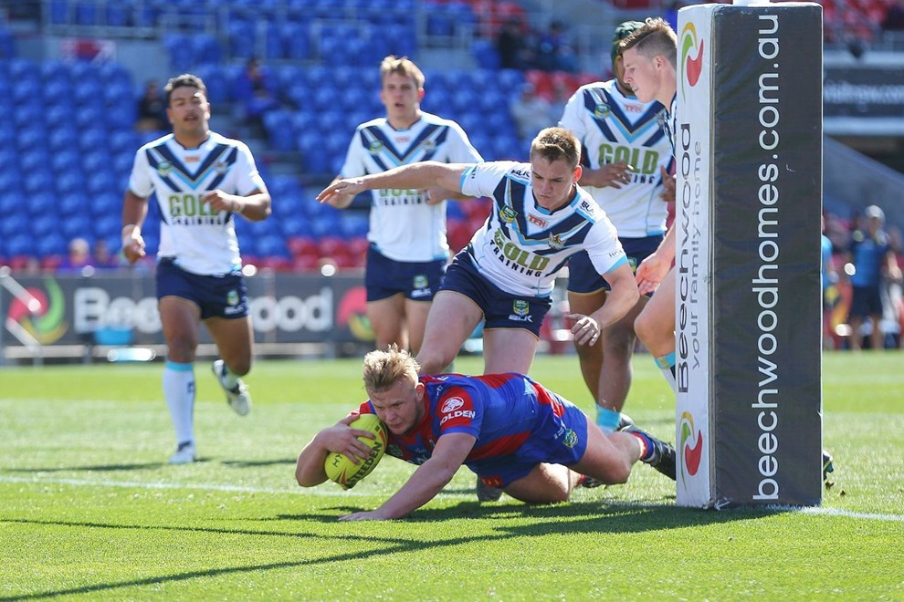 Competition - NYC Premiership Round. Round - Round 24. Teams - Newcastle Knights v Gold Coast Titans. Date - 20th of August 2016. Venue - Hunter Stadium, Broadmeadow, NSW. Photographer - Paul Barkley.