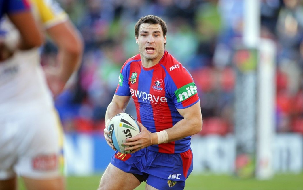 James McManus : Digital Image by Chris Lane nrlphotos.com : : NRL - Newcastle  V Canberra at Hunter Stadium, Saturday June 6th 2015.