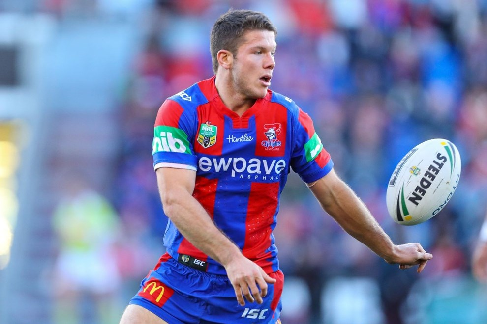 Competition - NRL Premiership Round. Round - Round 16. Teams - Newcastle Knights v St George Dragons. Date - 25th of June 2016. Venue - Hunter Stadium, Broadmeadow NSW. Photographer - Paul Barkley. Description - #Alex McKinnon Cup.