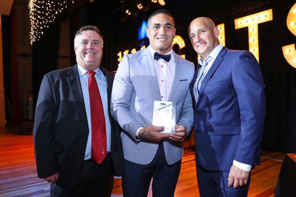 Newcastle Knights celebrate at the Season  Awards on the 8th of September 2016 at Wests, New Lambton NSW Australia. © NRL Photos / Photographer: Paul Barkley
