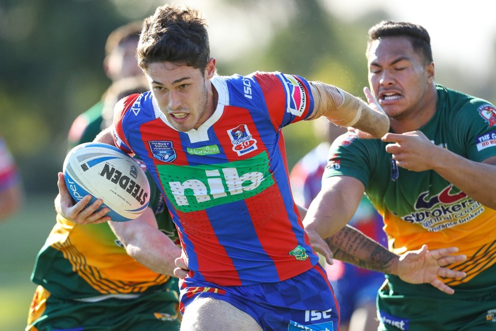 The Wyong Roos play Newcastle Knights in Round 25 of the Intrust Super Premiership at Morry Breen Oval on 26 August, 2017 in Kanwal, NSW Australia. (Photo by Paul Barkley/LookPro)
