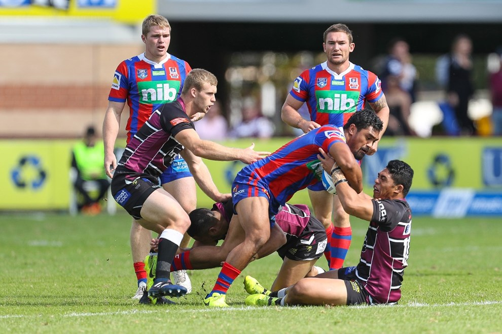 Competition - ISP. Round - Round 7. Teams - Blacktown Workers Sea Eagles v Newcastle Knights. Date - 15th of April 2017. Venue - Lottoland, Brookvale NSW. Photographer - Paul Barkley | © NRL Photos